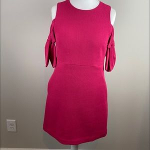 Chelsea28 • Fuchsia Cold-Shoulder Ribbed Dress